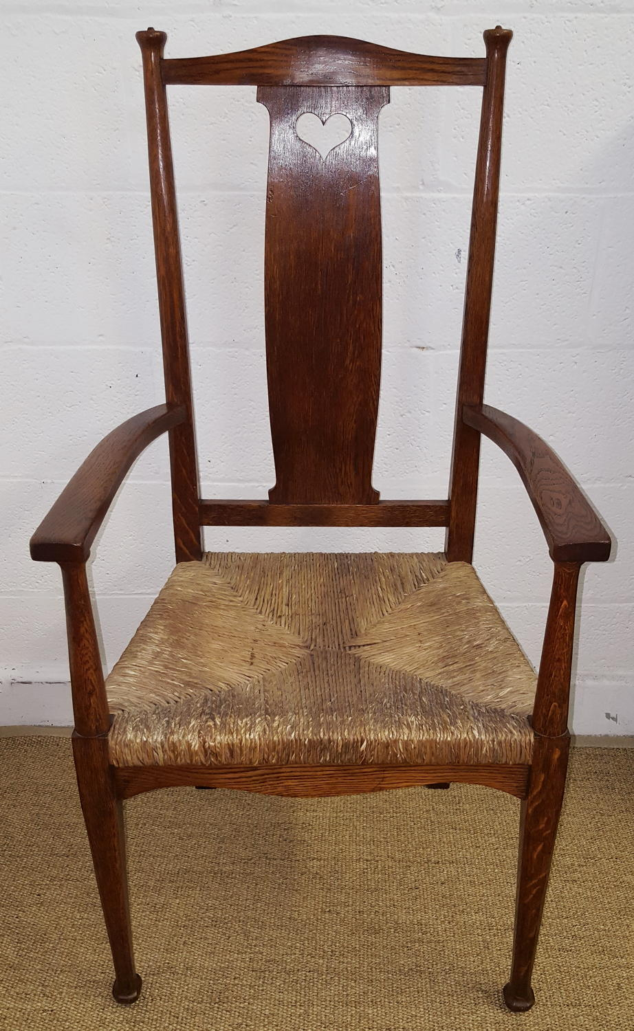 HEALS ARTS AND CRAFTS FINE FEATHERS OAK CHAIR C1904
