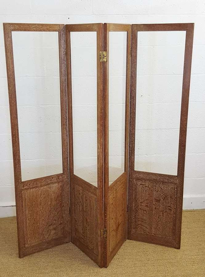 HEALS LIMED OAK COTSWOLD STYLE ROOM DIVIDER / DRESSING SCREEN C1920