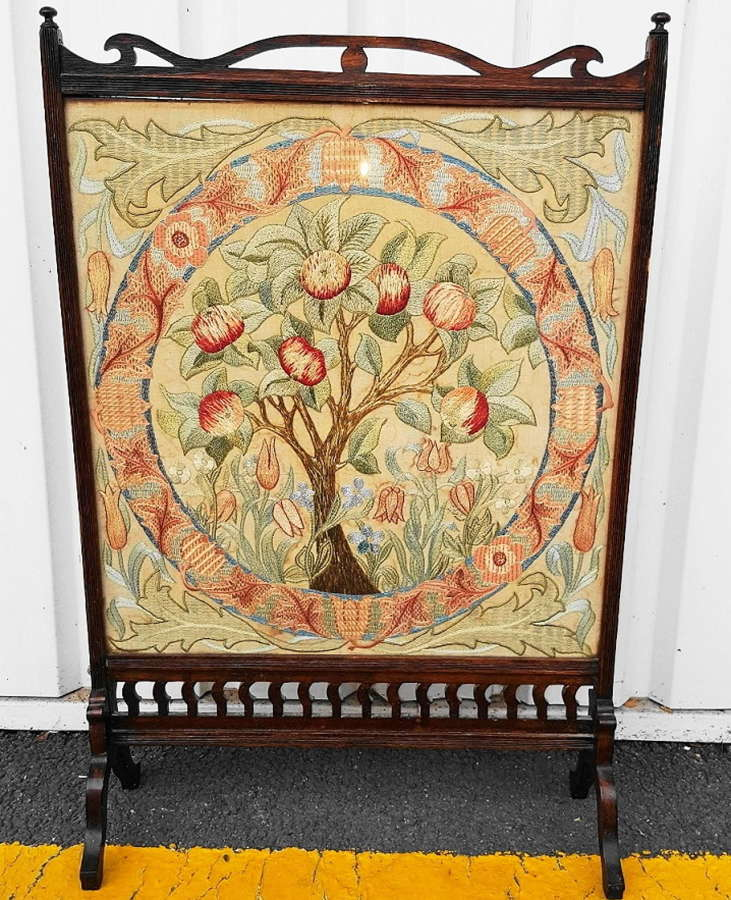 WILLIAM MORRIS APPLE TREE EMBROIDERY FIRESCREEN C1880