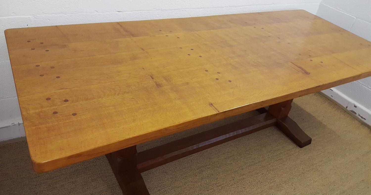 ROBERT MOUSEMAN THOMPSON  OAK REFECTORY TABLE C1950